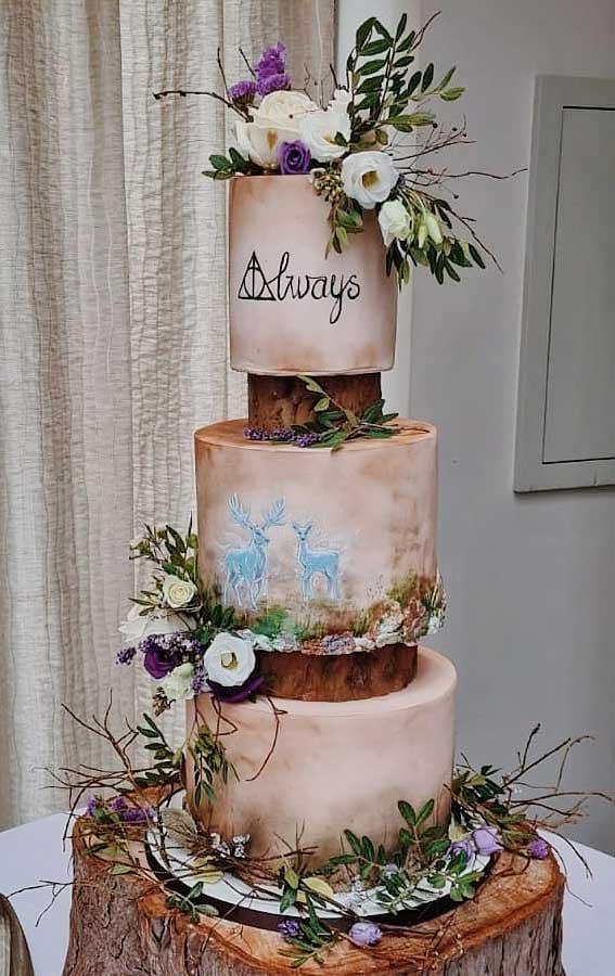 40 Pretty & New Wedding Cake Trends 2021 : Woodland Wedding Cake
