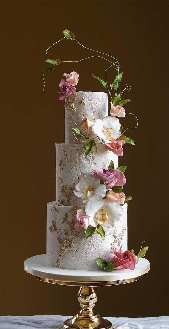 40 Pretty & New Wedding Cake Trends 2021 : Stone textured garden themed wedding cake