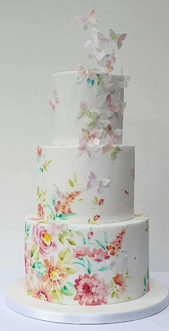 40 Pretty & New Wedding Cake Trends 2021 : Flower and Butterfly Wedding Cake
