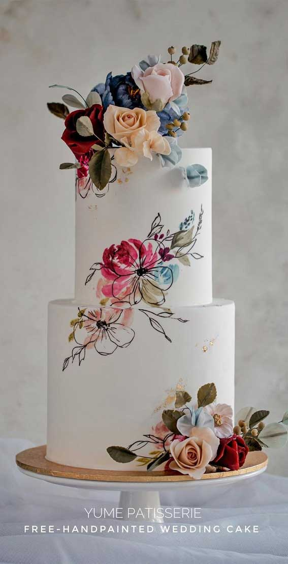 40 Pretty & New Wedding Cake Trends 2021 : Hand Painted Flower Wedding Cake