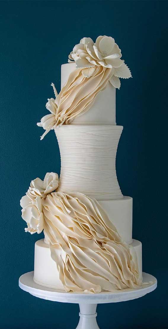 40 Pretty & New Wedding Cake Trends 2021 : Modern swag wedding cake