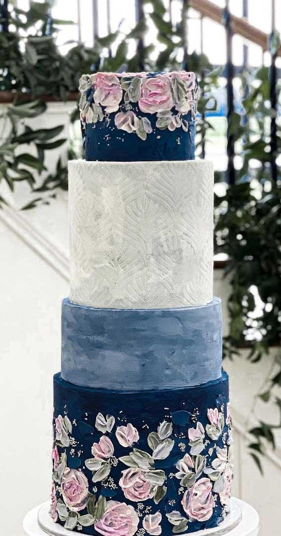 40 Pretty & New Wedding Cake Trends 2021 : Shades of Blue Wedding Cake
