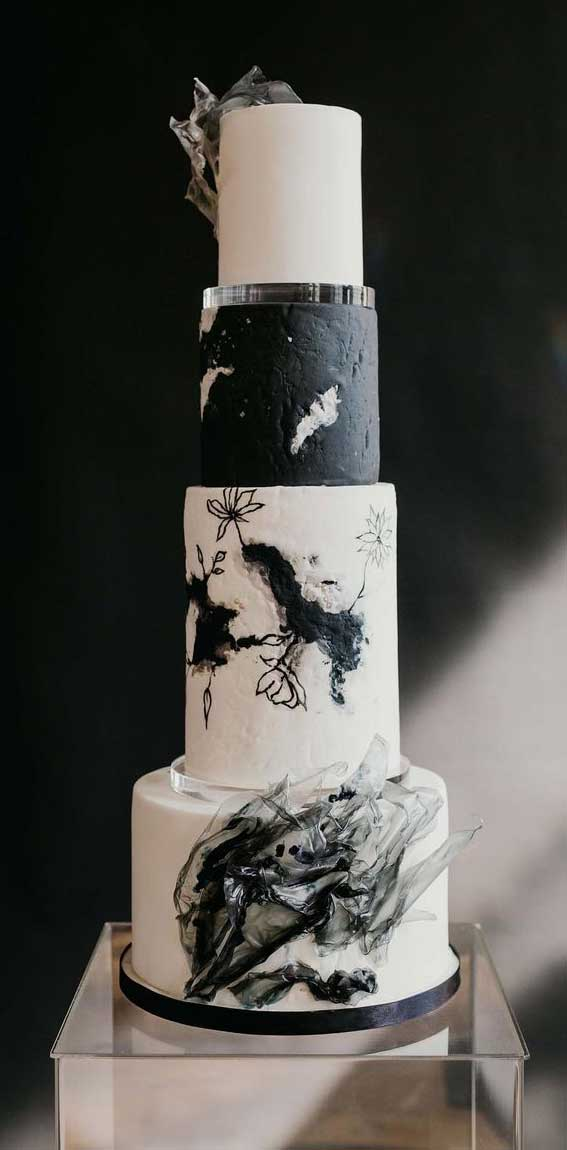 40 Pretty & New Wedding Cake Trends 2021 : black and white wedding Cake