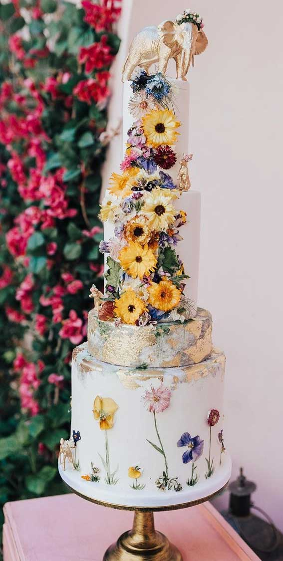 40 Pretty & New Wedding Cake Trends 2021 : Four Tier Wedding Cake with Pressed Edible Flowers