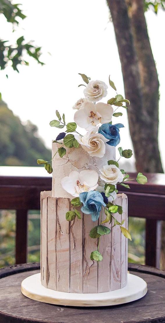 40 Pretty & New Wedding Cake Trends 2021 : Stone and wood textured wedding cake