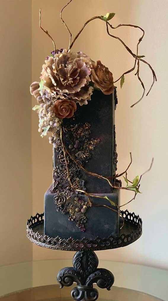 40 Pretty & New Wedding Cake Trends 2021 : Matte Black Wedding Cake