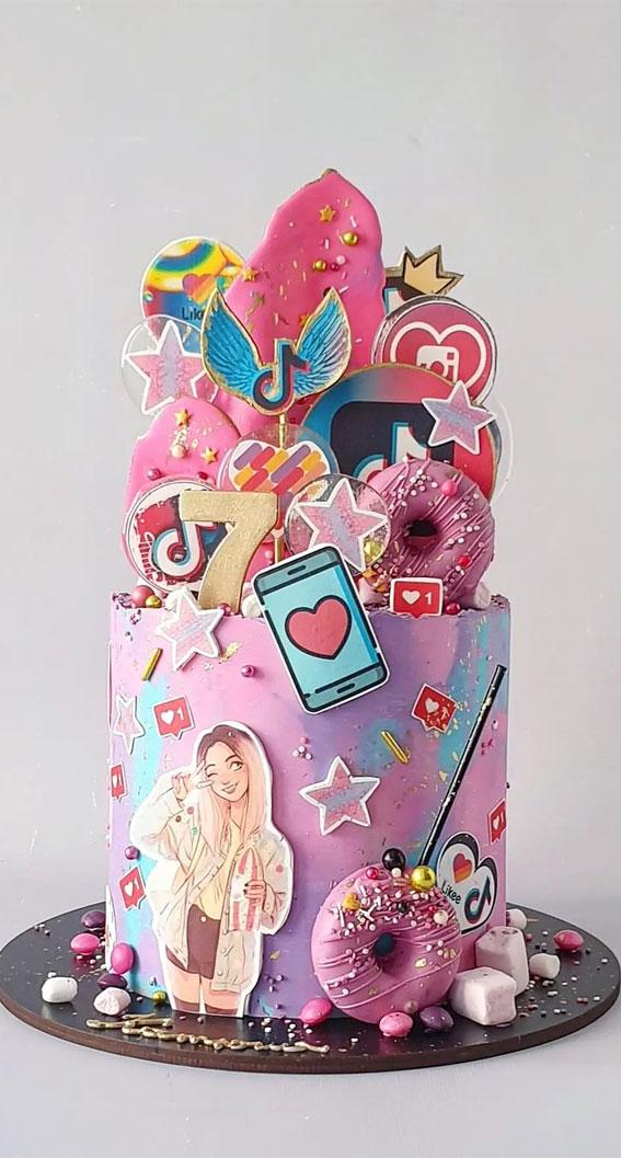 39 Cake design Ideas 2021 : Tik Tok Birthday Cake for 7th Birthday