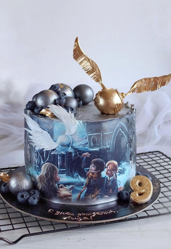 39 Cake design Ideas 2021 : Watercolor Harry Potter Birthday Cake for 9th Birthday