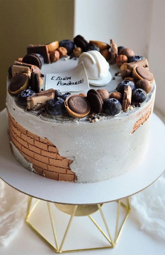 39 Cake design Ideas 2021 : Brick Construction Theme Birthday Cake