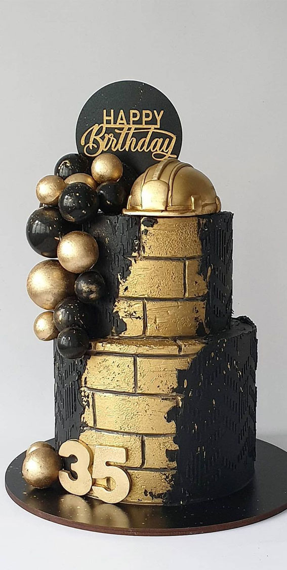 39 Cake design Ideas 2021 : Black and Gold Construction Theme Birthday Cake