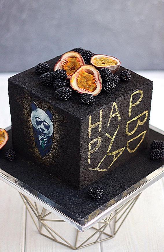 39 Cake design Ideas 2021 : Black Square Birthday Cake For Male Adult