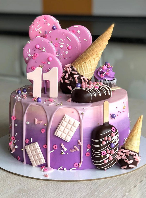 39 Cake design Ideas 2021 : Pink and Purple Ombre Cake for 11st Birthday