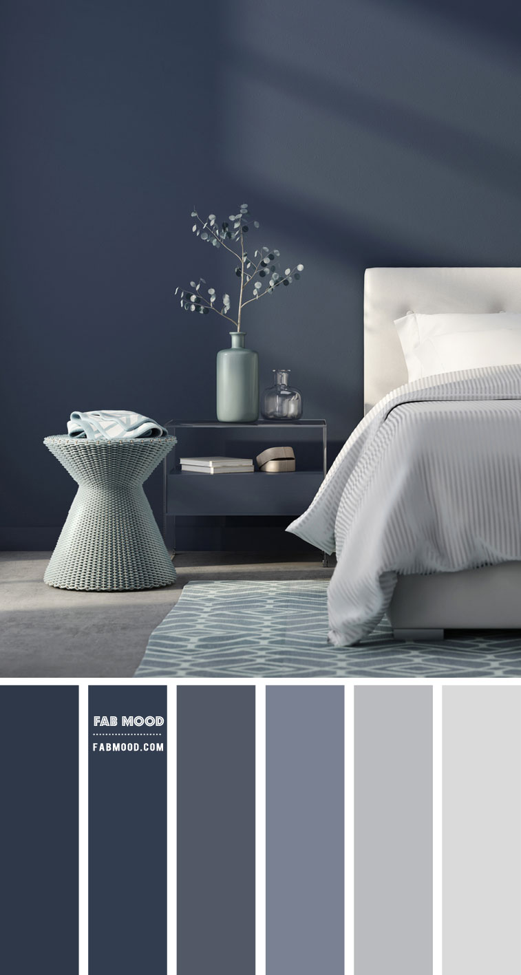 14 Beautiful Bedroom Colour Schemes : Navy Blue and White Bedroom