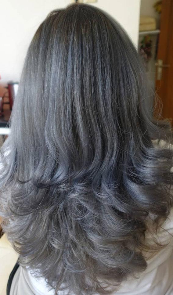 35 Best layered haircuts 2021 : Balayage Silver Layered Haircut