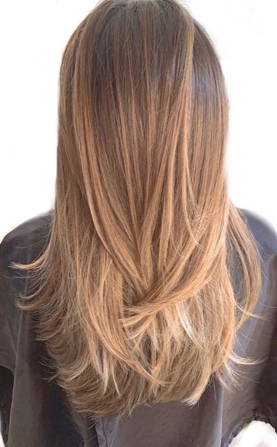 35 Best layered haircuts 2021 : Ombre Chestnut Layered Haircut