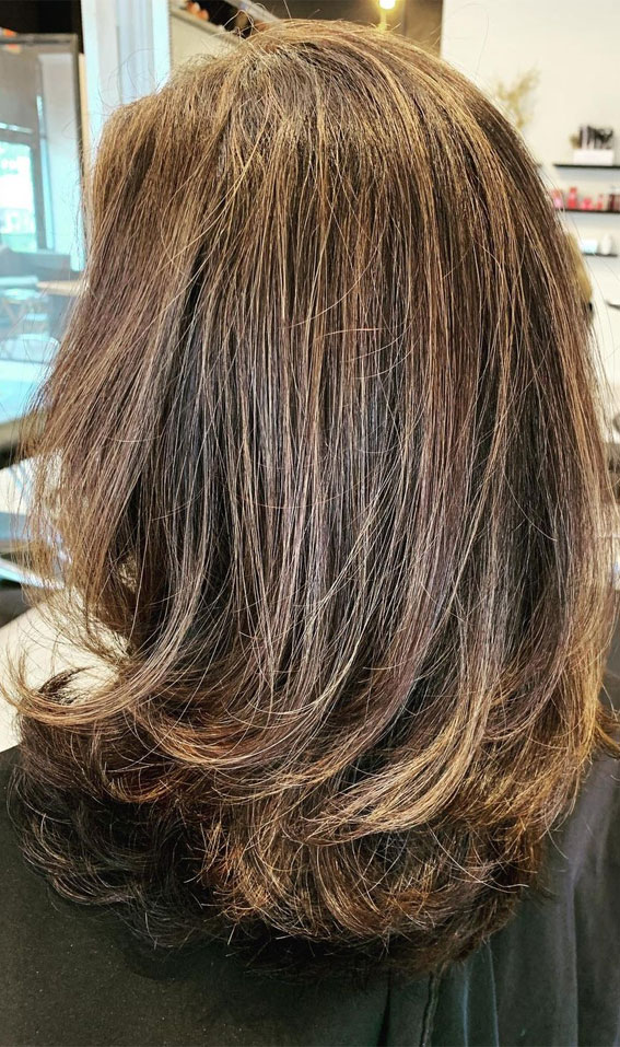 35 Best layered haircuts 2021 : Brushed Brown Layered Haircut