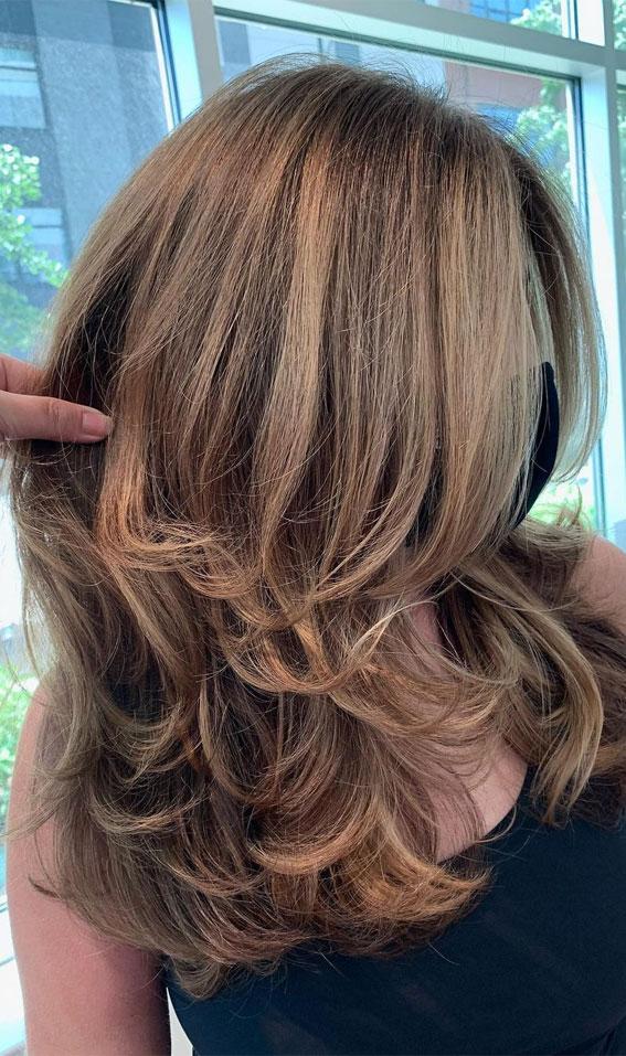 35 Best layered haircuts 2021 : Brown Soft Layered Haircut