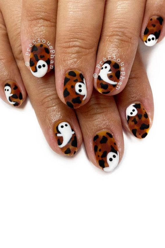 white ghost tortoiseshell halloween nails , halloween nails, halloween nails, halloween nail art, halloween nails 2021