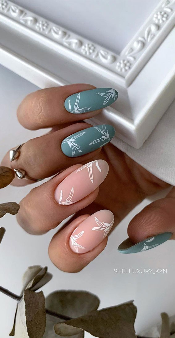 The 42 Nail Trends to Wear for Winter 2021 : Sage Green and Neutral Nails