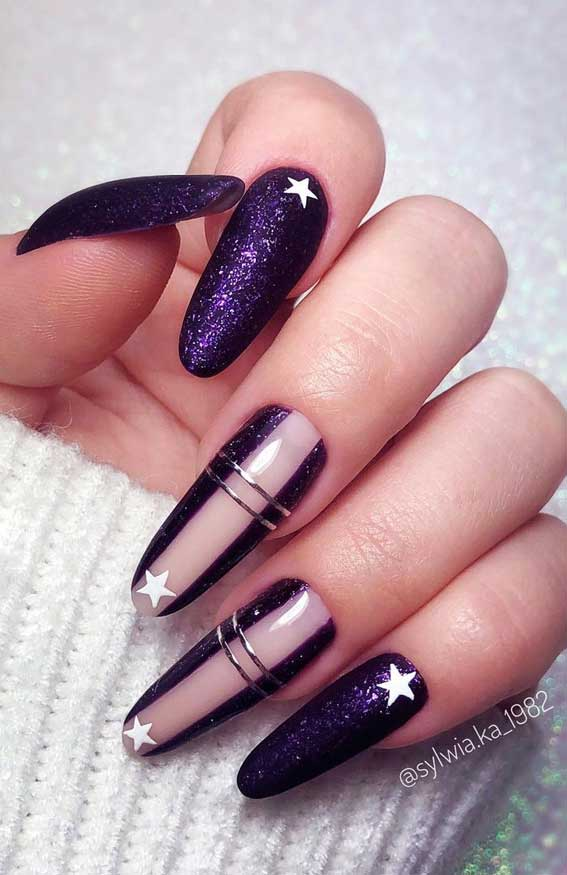 The 42 Nail Trends to Wear for Winter 2021 : Shimmery Purple Nails with Star Details