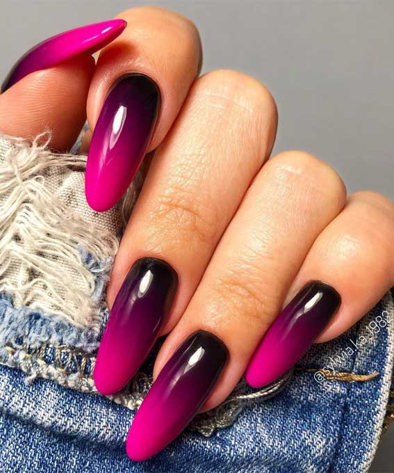 The 42 Nail Trends to Wear for Winter 2021 : Ombre Berry Toned Nails