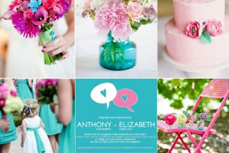 Pink and Turquoise wedding colors palette for summer wedding,summer wedding color combos,summer wedding color schemes