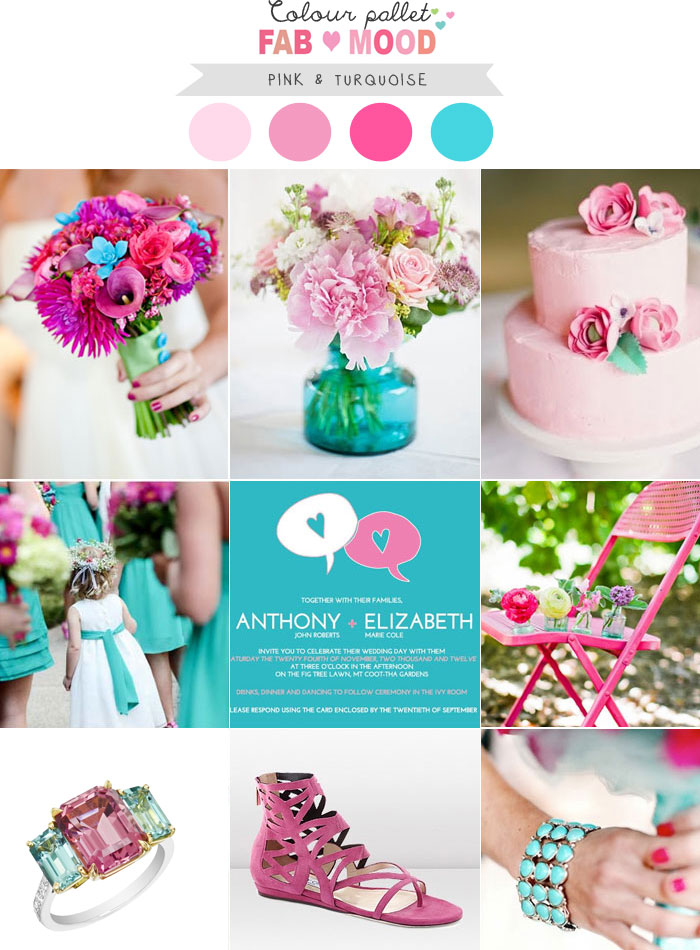 Pink and Turquoise wedding colors palette for summer wedding,summer wedding color combos,summer wedding color schemes,pink and turquoise wedding