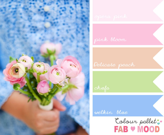 Blue Pink Wedding Colors Board Ideas