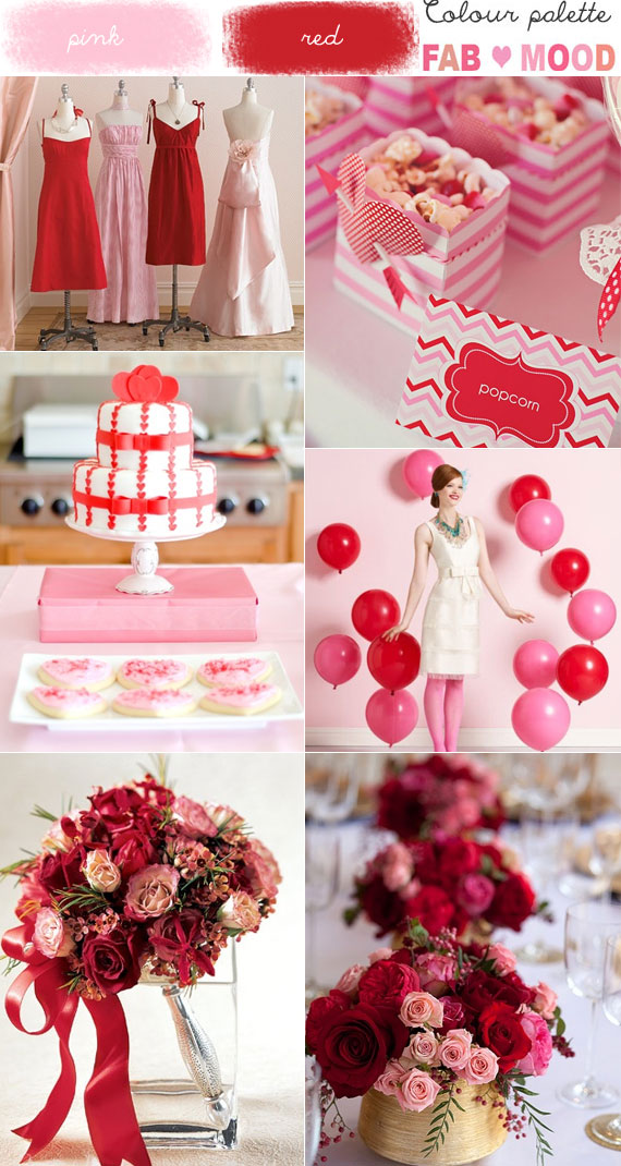 Pink & Red Wedding Colour Mood Board