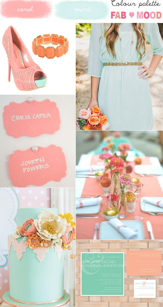 coral mint wedding colour mood board,coral mint wedding ideas