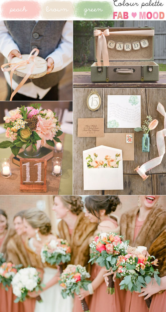 Peach brown wedding colors, peach brown green colours palette
