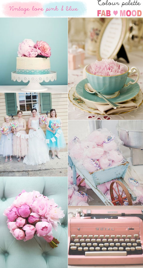 Pink Blue Vintage Wedding Ideas Theme
