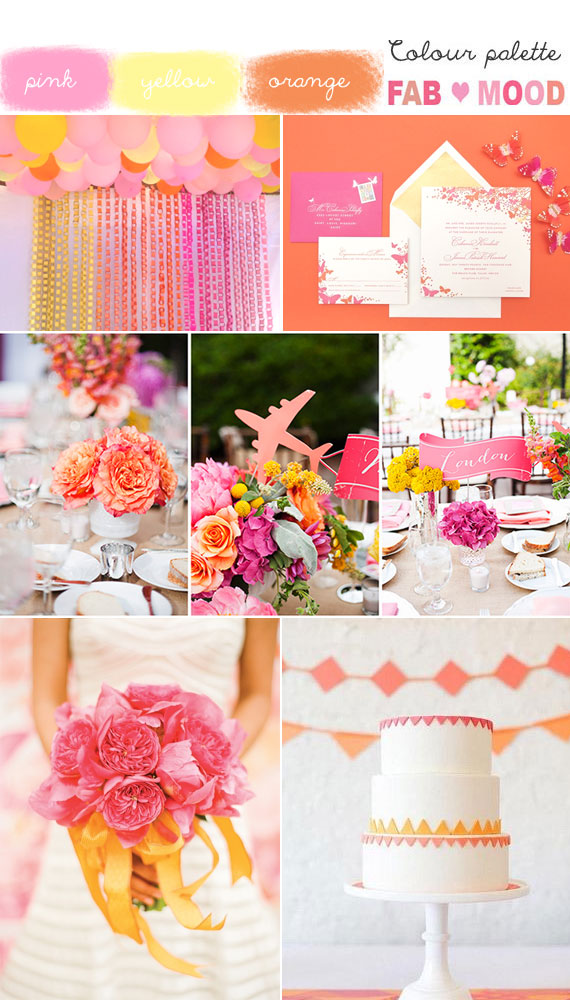 pink orange yellow wedding,pink orange yellow wedding colors,summer wedding colors,pink orange and yellow wedding ideas,pink orange yellow wedding colour board