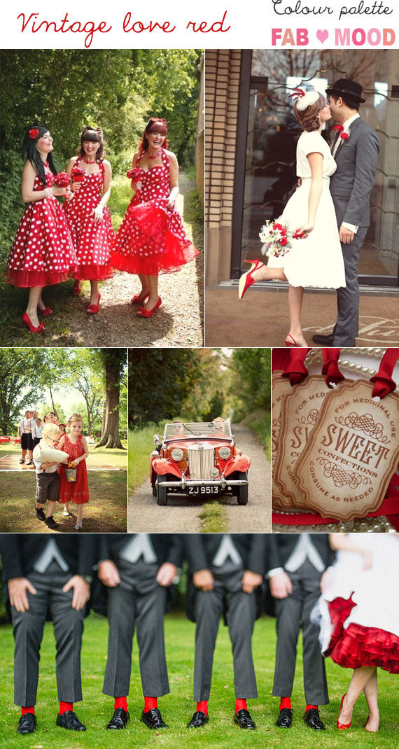 red vintage wedding mood board