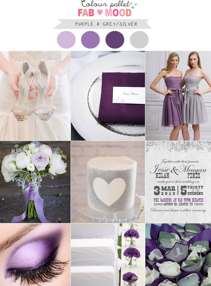 Purple silver wedding colors, purple silver wedding colours palette
