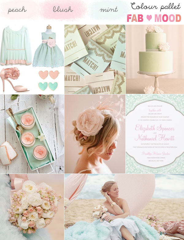 Blush pink and mint wedding colours palette