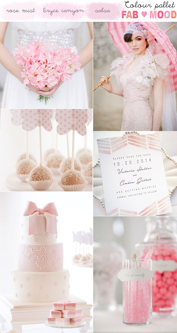 Shades of Pink Wedding Colour Board