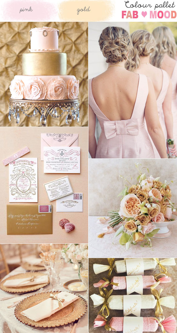 Pink & Gold Wedding Colour Board