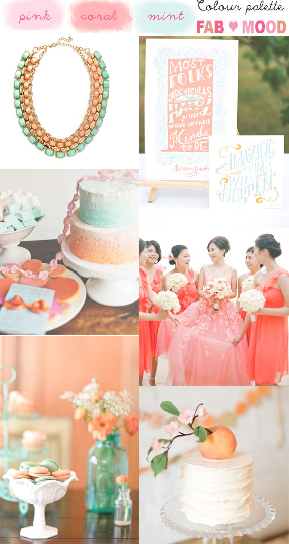 Coral mint wedding colors, coral pink mint wedding palette