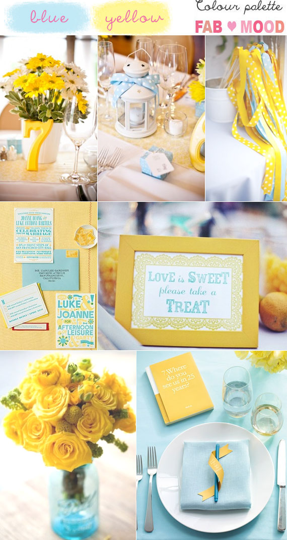 Blue yellow wedding colors mood board