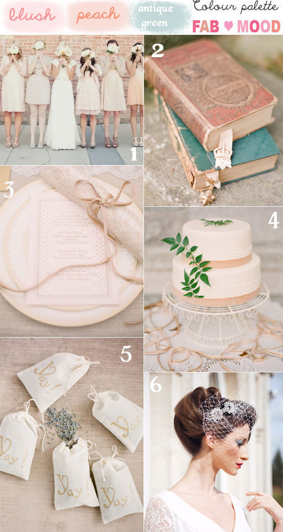 blush peach green vintage wedding