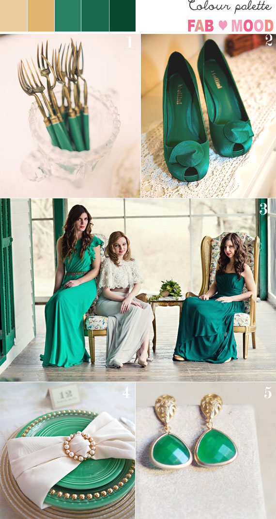 Emerald green and gold wedding colors palette