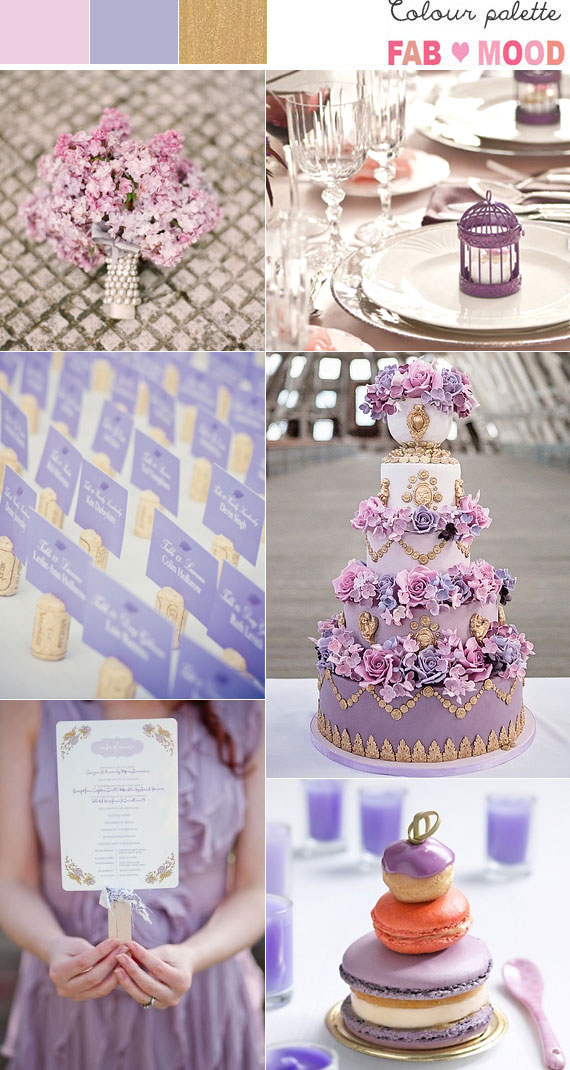 Dusty pink, Gold & Lilac Wedding Colour Palette