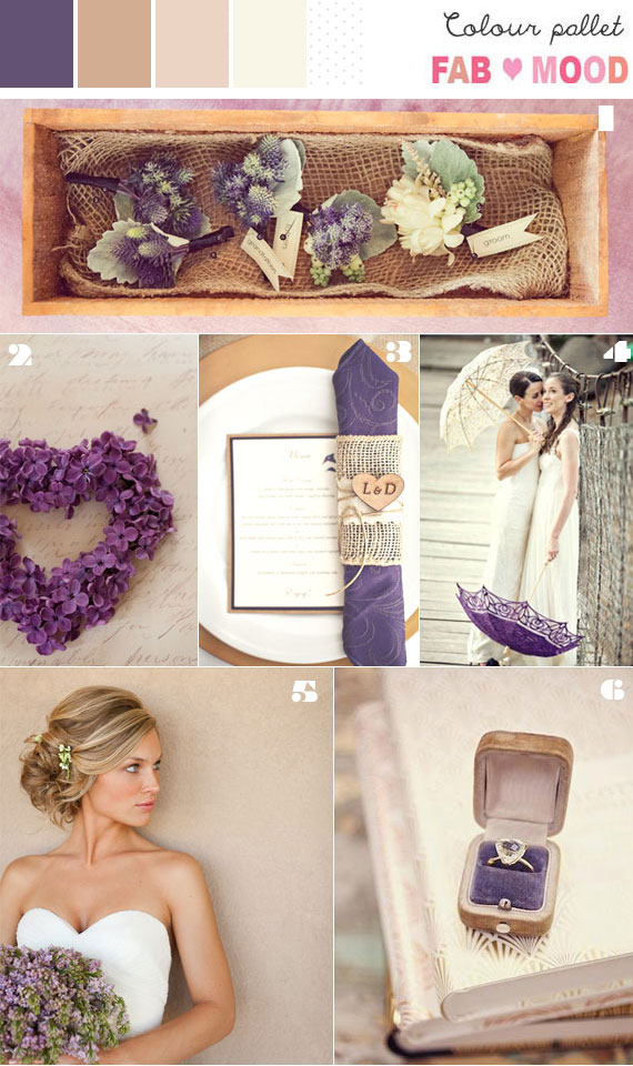 Brown Champagne Purple Wedding Colour Mood Board