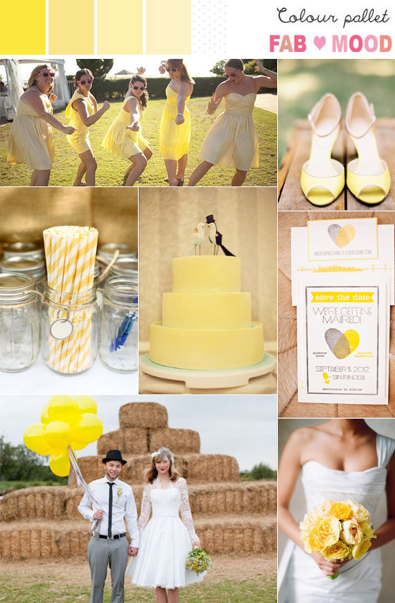 Yellow summer wedding ideas, yellow color palettes