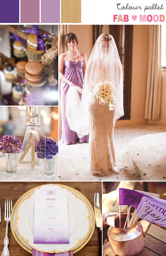 lavender gold wedding colors, purple gold wedding ideas