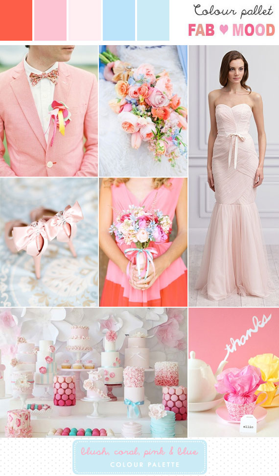 Romantic Blush Pink Coral Powder Blue Wedding