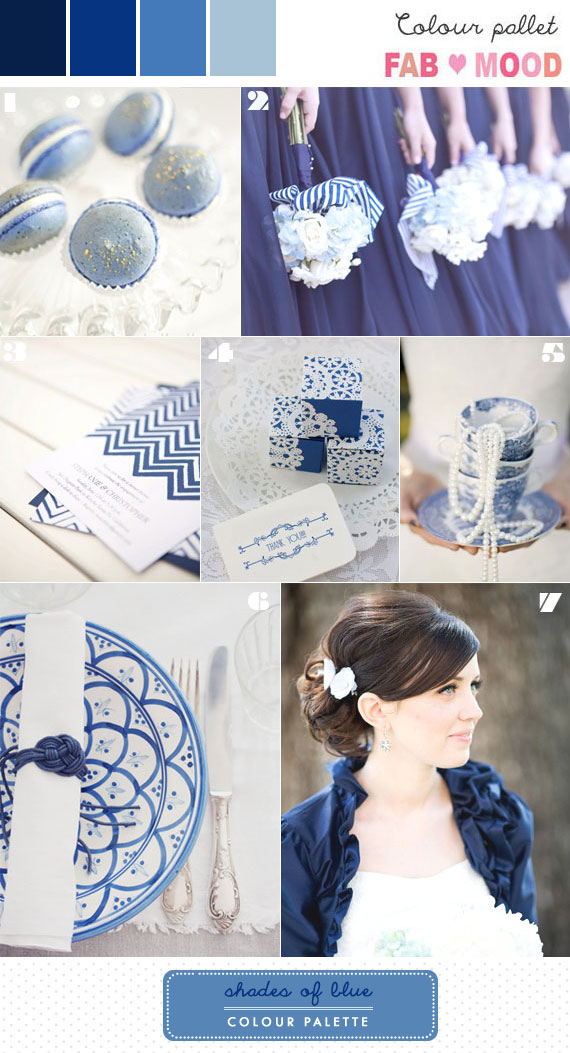 Navy Blue , Shades of Blue wedding palette