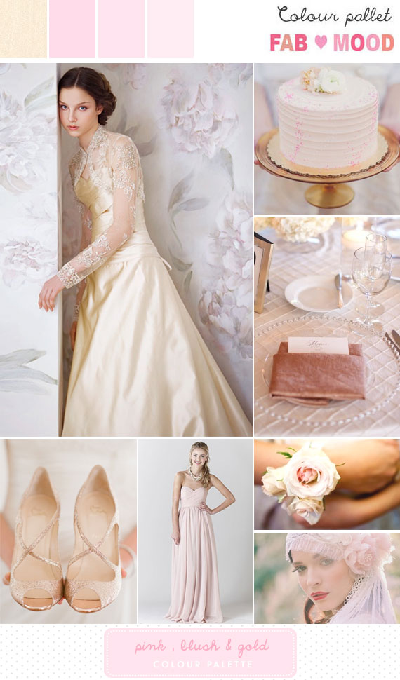 blush pink gold wedding colour mood board