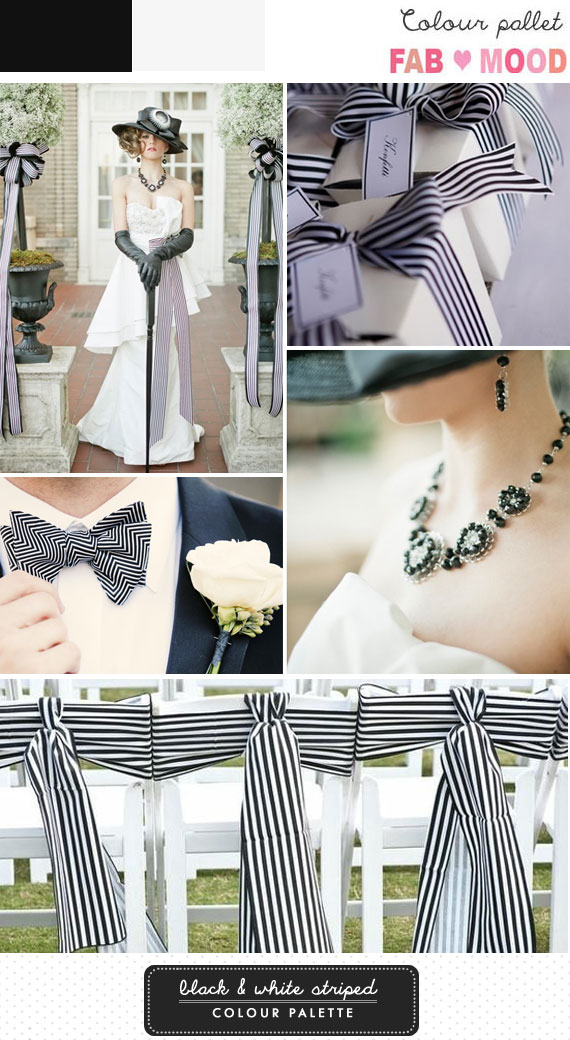 Black & White Striped Wedding Board